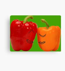 Funny enamored sweet peppers Canvas Print