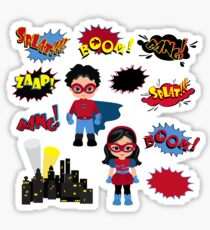 Colorful cartoon text captions. Explosions and noises. Super Boy and Super Girl. Sticker