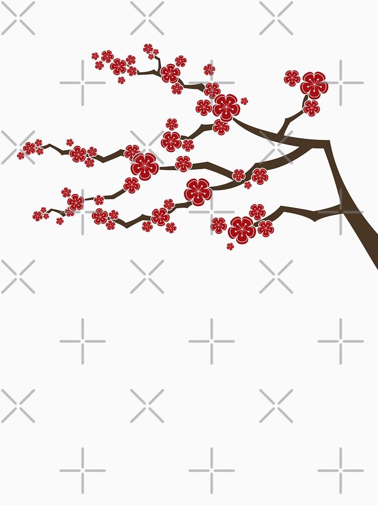 Red Oriental Cherry Blossoms On Ivory   Zen Japanese Sakura Flowers by fatfatin