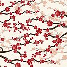 Red Oriental Cherry Blossoms | Zen Japanese Sakura Flowers by fatfatin