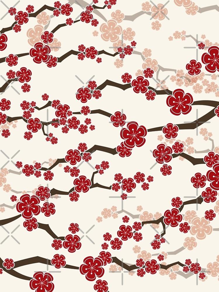 Flores de cerezo orientales rojas en marfil | Flores japonesas zen sakura de fatfatin
