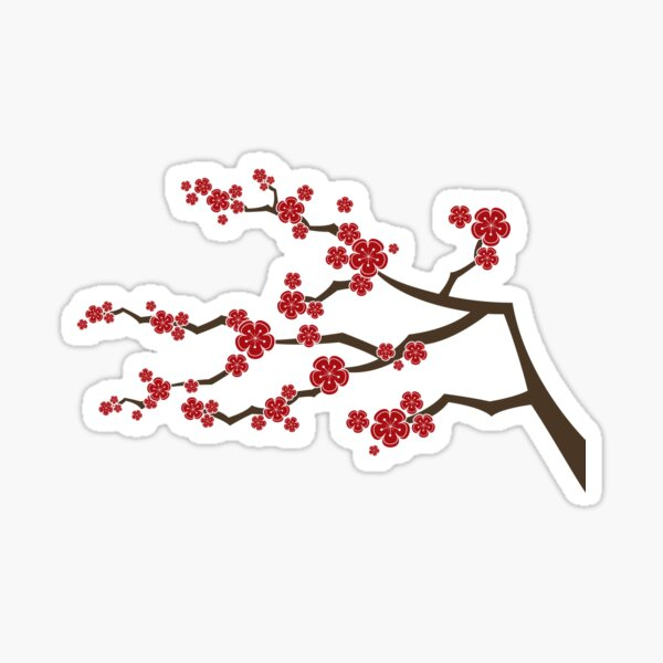 Red Oriental Cherry Blossoms On Ivory | Zen Japanese Sakura Flowers Sticker