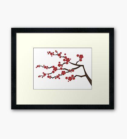 Red Oriental Cherry Blossoms   Zen Japanese Sakura Flowers Framed Print