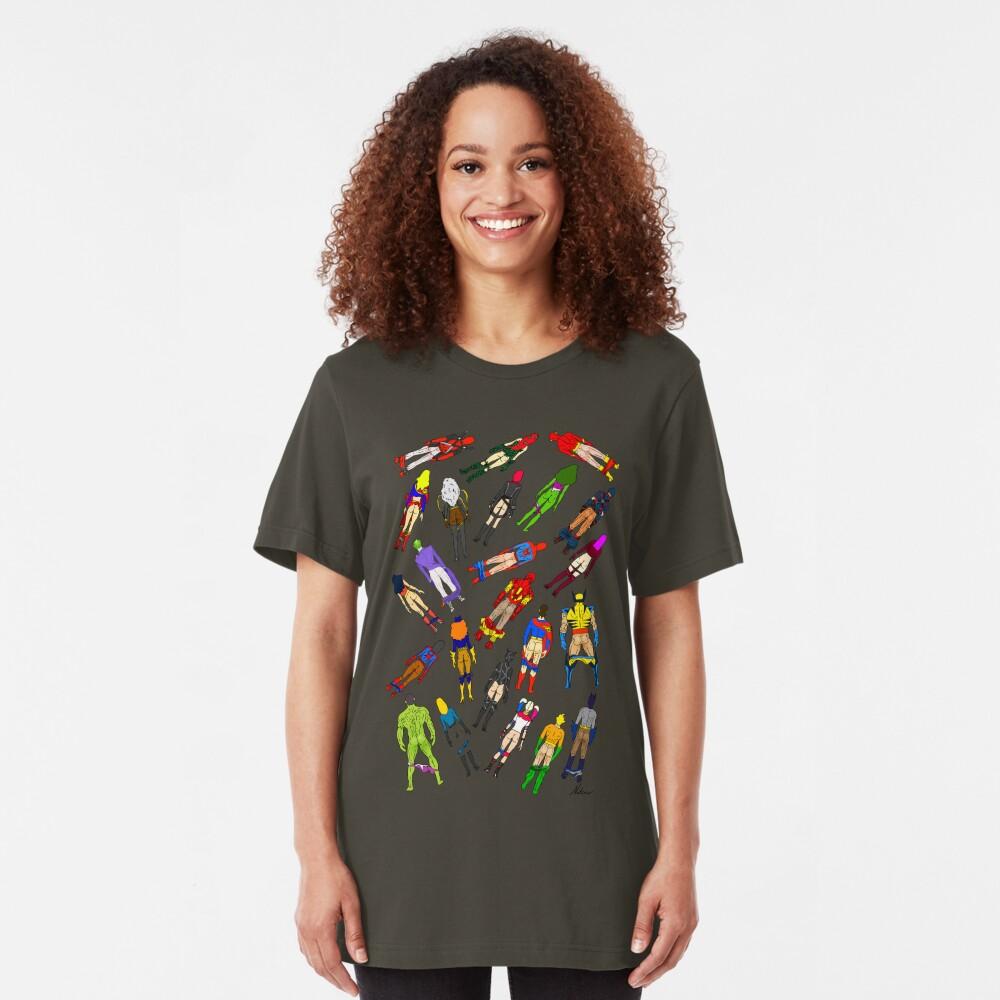 Butt of Superhero Villian - on Dark Slim Fit T-Shirt