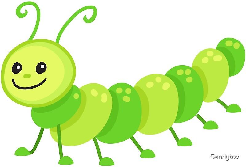 """Cute cartoon caterpillar centipede"" by Sandytov | Redbubble"