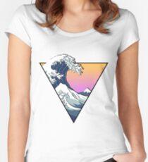 Große Wellenästhetik Tailliertes Rundhals-Shirt