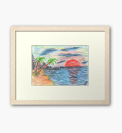 2204 - Palmtree Beach Ocean Sunset with Dolphins Framed Print