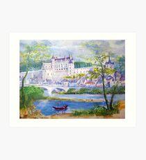 Chateau Amboise watercolor painting  Art Print
