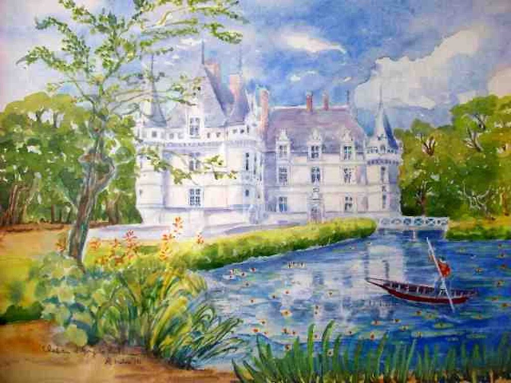 Chateau Azay le Rideau watercolor painting by coolart
