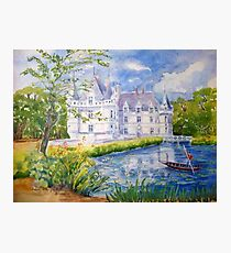 Chateau Azay le Rideau watercolor painting Photographic Print