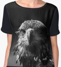 eagle head, black and white Women's Chiffon Top