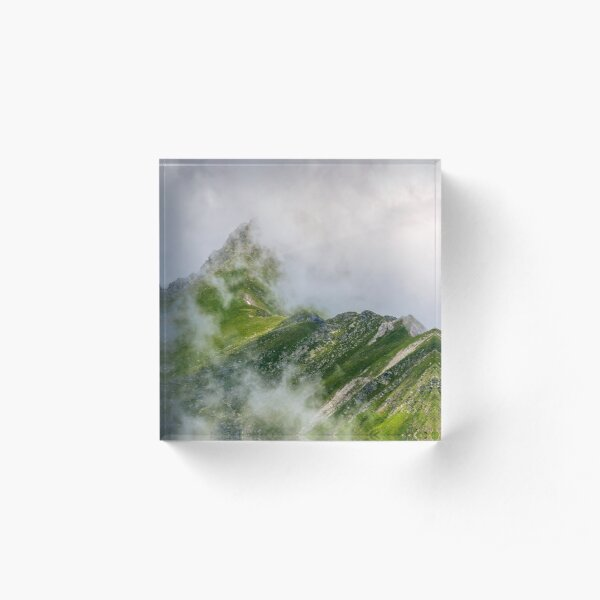 Steep slope on rocky hillside in fog Acrylic Block