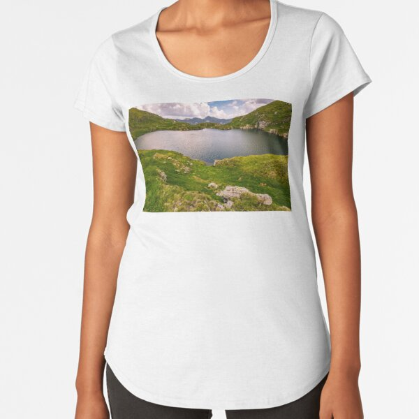 lake in mountains with grass on hillside Premium Scoop T-Shirt
