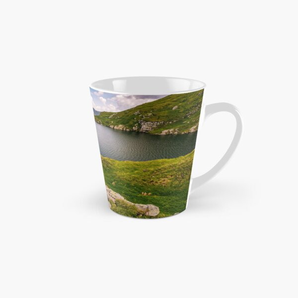 lake in mountains with grass on hillside Tall Mug