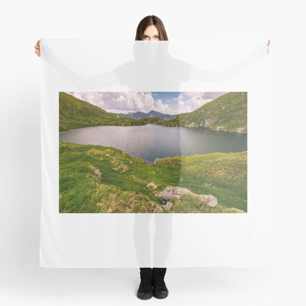 lake in mountains with grass on hillside Scarf