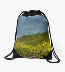 Dandelions among the rocks on hillside Drawstring Bag