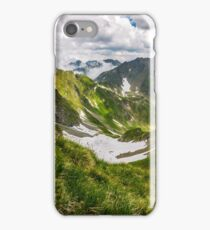 valley in romanian mountains view from the edge above iPhone Case/Skin