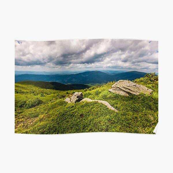 huge boulders on the edge of hillside Poster