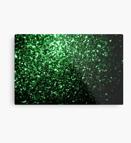Beautiful Glamour Dark Green glitter sparkles Metal Print