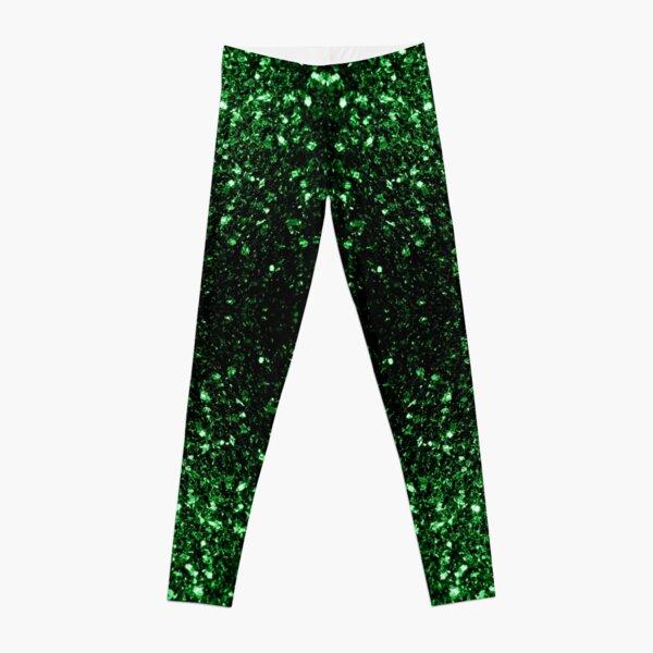 Beautiful Glamour Dark Green glitter sparkles Leggings