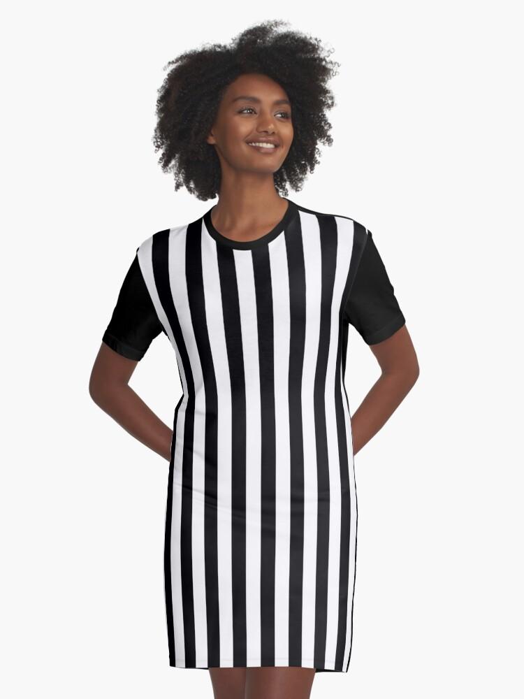 d43eb316f3a4 Vestido camiseta ' BLANCO Y NEGRO | RAYAS VERTICALES' de ozcushionstoo