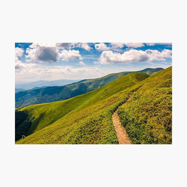 footpath through the mountain ridge Photographic Print