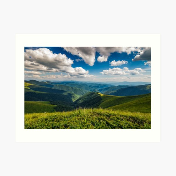 hillside meadow in mountain Art Print