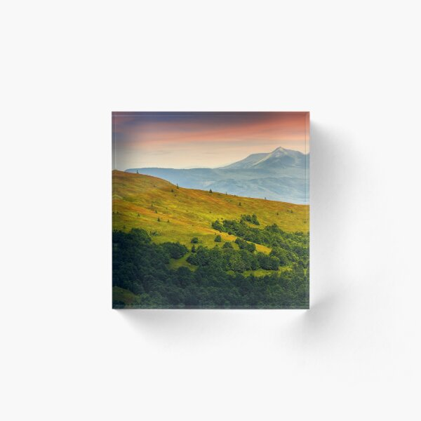 mountain ridge with peak behind the hillside at sunset Acrylic Block