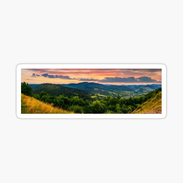 panorama of mountain ridge with peak at sunset Sticker