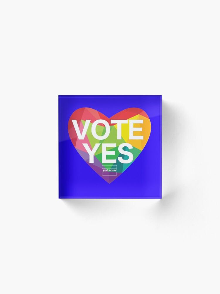Alternate view of Australia, Vote Yes! Acrylic Block