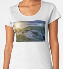 time change concept with huge boulders on the edge of hillside Women's Premium T-Shirt