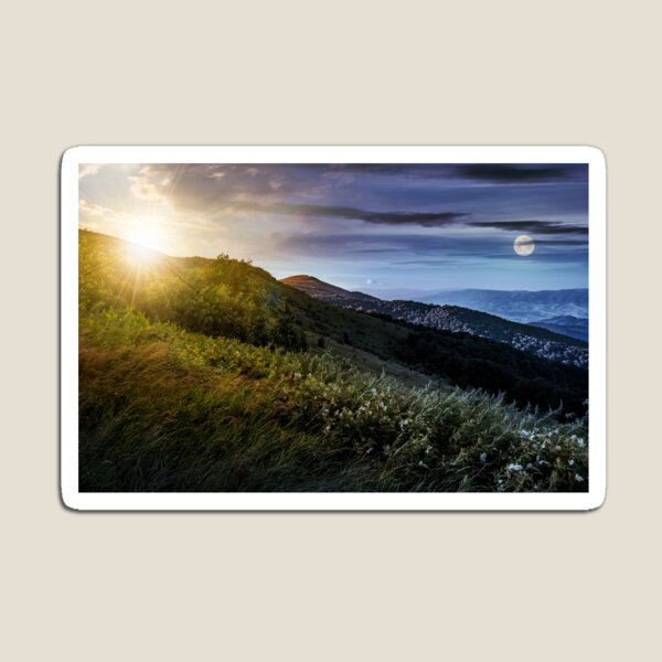 time change concept over grassy meadow on a hillside Magnet
