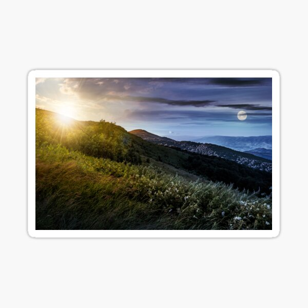 time change concept over grassy meadow on a hillside Sticker