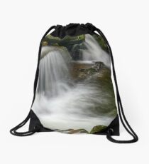 small cascade on the river among bouders in forest Drawstring Bag