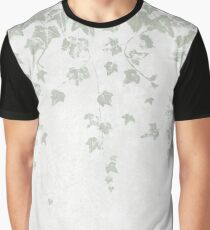 Soft Gray Green and White Trailing Ivy Leaf Print Graphic T-Shirt
