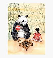 Little Baby Girl Playing Go with Panda Photographic Print