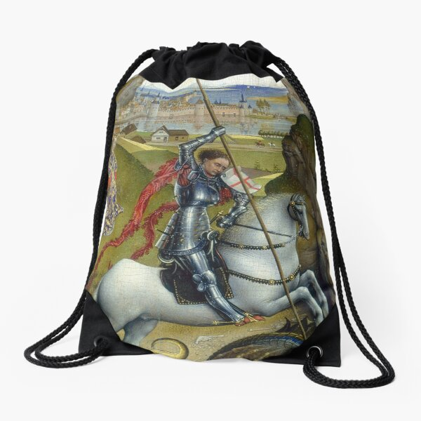 Saint George and the Dragon Oil Painting by Rogier van der Weyden Drawstring Bag
