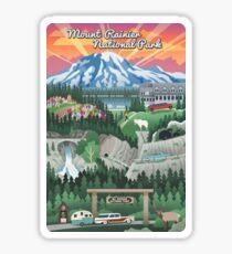 Mount Rainier National Park Vintage View Travel Decal Sticker