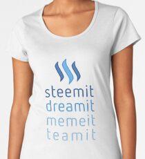 Steemit.com - Dream it, Meme It, Team it - Steemit! (Blue) Women's Premium T-Shirt