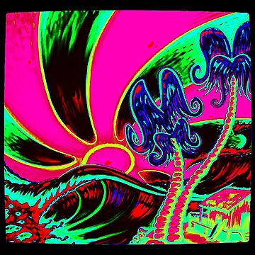 SURF SUN WAVES FUN (GLOW in the DARK) by PunkStickEmUp