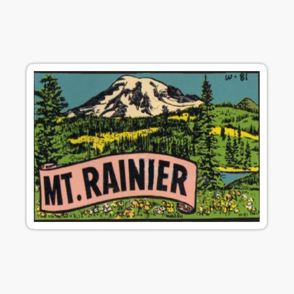 Retro Mount Rainier Vintage Travel Decal Washington USA Sticker