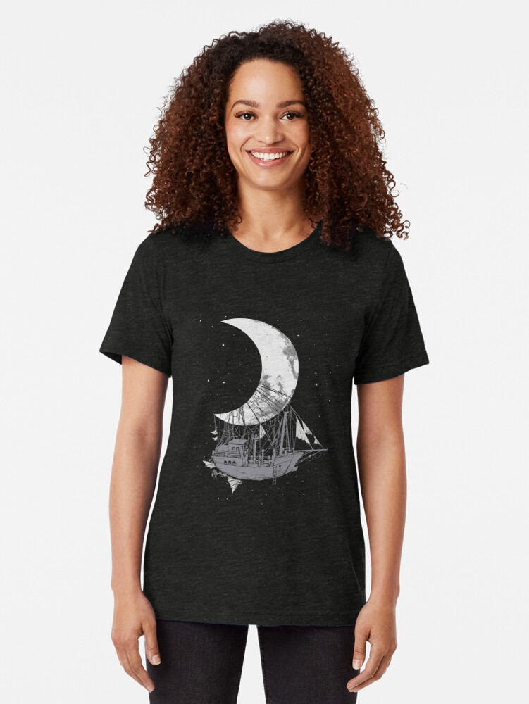 Alternate view of Moon Ship Tri-blend T-Shirt