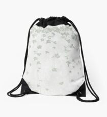 Soft Gray Green and White Trailing Ivy Leaf Print Drawstring Bag