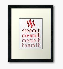 Steemit.com - Dream it, Meme It, Team it - Steemit! (Red) Framed Print
