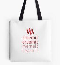 Steemit.com - Dream it, Meme It, Team it - Steemit! (Red) Tote Bag