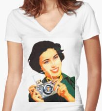 Woman with photo camera, vintage poster Women's Fitted V-Neck T-Shirt