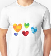 Checkered mult-color hearts Unisex T-Shirt