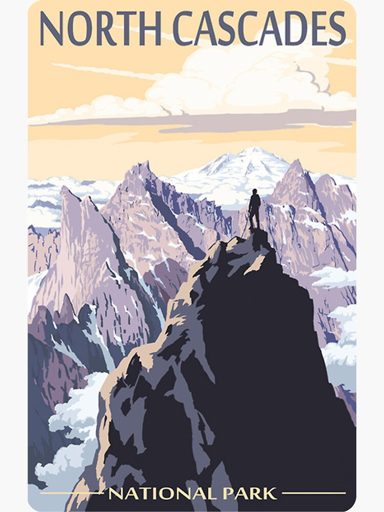 North Cascades National Park Washington State USA Travel Decal by MeLikeyTees