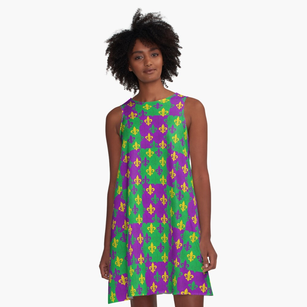 Mardi Gras Fleur-de-Lis Pattern A-Line Dress