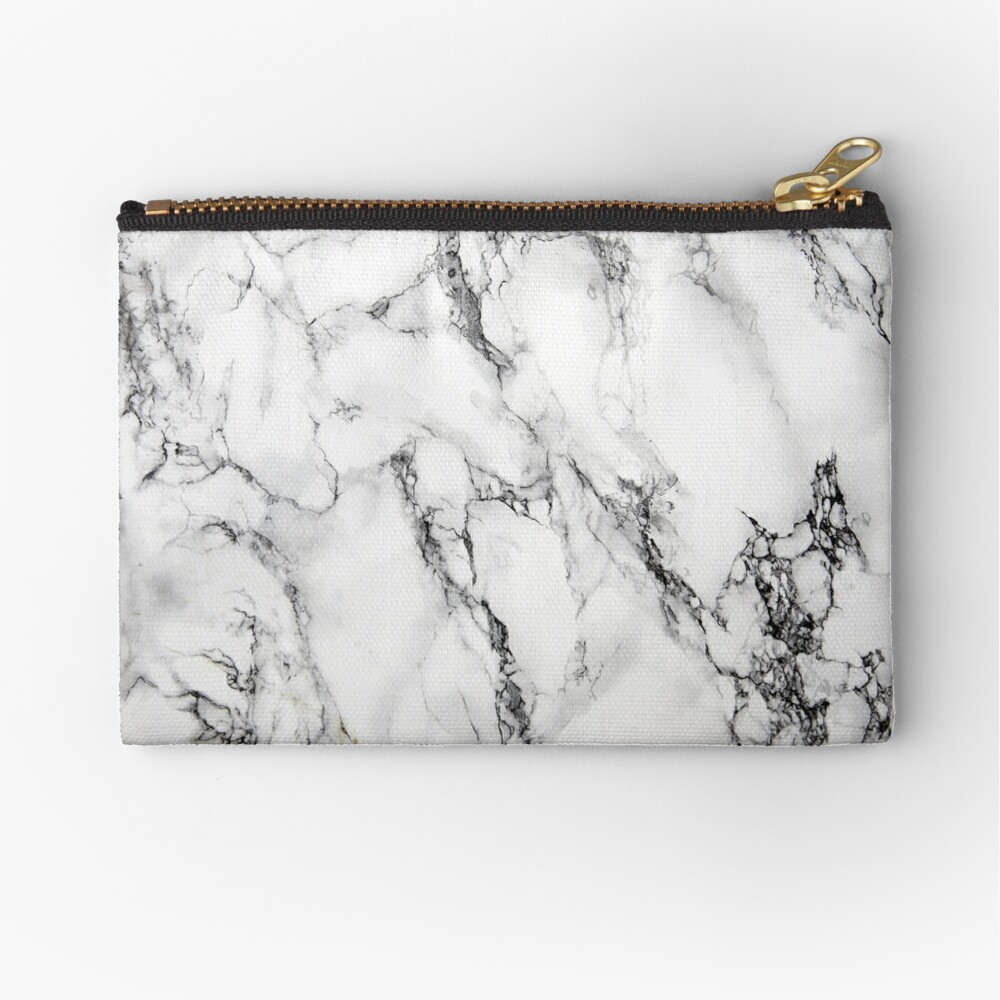 White Marble  Zipper Pouch